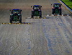 September 2, 2020: Tractors seal the track in the rain as horses prepare for the 2020 Kentucky Derby and Kentucky Oaks at Churchill Downs in Louisville, Kentucky. The race is being run without fans due to the coronavirus pandemic that has gripped the world and nation for much of the year. Scott Serio/Eclipse Sportswire/CSM