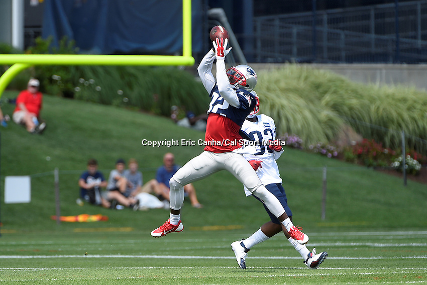August 4, 2015: New England Patriots free safety Devin McCourty (32) intercepts the ball during the New England Patriots training camp held on the practice field at Gillette Stadium, in Foxborough, Massachusetts. Eric Canha/CSM
