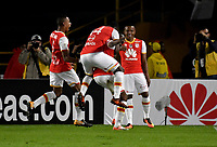 BOGOTA - COLOMBIA - 30 - 11 - 2017: Los jugadores de Independiente Santa Fe, celebran el gol anotado a Jaguares F. C., durante partido de vuelta de los cuartos de final entre Independiente Santa Fe y Jaguares F. C., de la Liga Aguila II 2017, en el estadio Nemesio Camacho El Campin de la ciudad de Bogota.  / The splayer of Independiente Santa Fe, celebrate a goal scoring to Jaguares F. C., during a match between Independiente Santa Fe y Jaguares F. C., of the quarter of finals for the Liga Aguila II 2017 at the Nemesio Camacho El Campin Stadium in Bogota city, Photo: VizzorImage / Luis Ramirez / Staff.