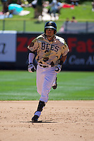 Roberto Lopez (30) of the Salt Lake Bees during the game against the Fresno Grizzlies at Smith's Ballpark on May 26, 2014 in Salt Lake City, Utah.  (Stephen Smith/Four Seam Images)