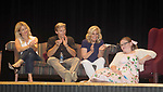 """Cynthia Watros, Grant Aleksander, Tina Sloan, Meredith Taylor - cast on stage with Guiding Light's Michael O'Leary author of """"Breathing Under Dirt"""" - full play - had its world premier on August 13 and 14, 2016 at the Ella Fitzgerald Performing Arts Center, University of Maryland Eastern Shore, Princess Anne, Maryland  (Photo by Sue Coflin/Max Photos)"""