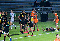 Ramiro Moyano scores during the Super Rugby match between the Chiefs and Jaguares at Rotorua International Stadum in Rotorua, New Zealand on Friday, 4 May 2018. Photo: Dave Lintott / lintottphoto.co.nz