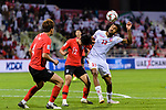 Mohamed Saad Alromaihi of Bahrain (R) fights for the ball with Lee Seungwoo of South Korea (C) during the AFC Asian Cup UAE 2019 Round of 16 match between South Korea (KOR) and Bahrain (BHR) at Rashid Stadium on 22 January 2019 in Dubai, United Arab Emirates. Photo by Marcio Rodrigo Machado / Power Sport Images