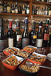 Appetizers, wine bottles, Pan Osteria d'Ingegno, Rome, Italy