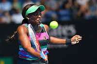 January 16, 2019: 5th seed Sloane Stephens from the USA in action in the second round match against Timea Babos of Hungary on day three of the 2019 Australian Open Grand Slam tennis tournament in Melbourne, Australia. Photo Sydney Low