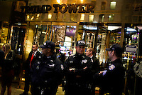 NEW YORK, NY - MAY 3 : NYPD officers stand guard at the entrance of the Trump Tower before that U.S. Republican presidential candidate Donald Trump gives his post-election remarks on May 3, 2016 in Manhattan, New York. Front-running Republican candidate Trump won Indiana's Republican primary, moving him closer to claiming the party's nomination. Photo by VIEWpress