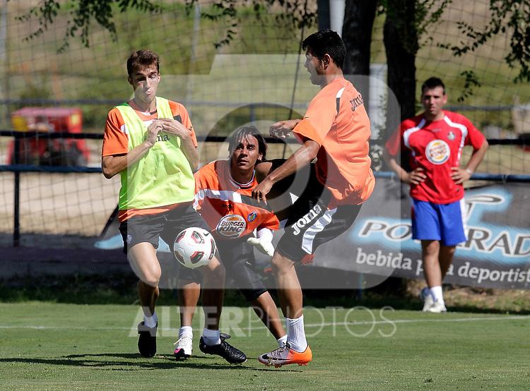 Getafe's Rafa Lopez, Oscar Ustari and Miku during trainning session. July 21, 2010. (ALTERPHOTOS/Alvaro Hernandez)