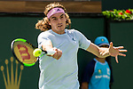 March 9, 2019: Stefanos Tsitsipas (GRE) hits a forehand as he was defeated by Felix Auger-Aliassime (CAN) 6-4, 6-2 at the BNP Paribas Open at the Indian Wells Tennis Garden in Indian Wells, California. ©Mal Taam/TennisClix/CSM