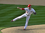 10 October 2012: Washington Nationals pitcher Drew Storen on the mound during Postseason Playoff Game 3 of the National League Divisional Series against the St. Louis Cardinals at Nationals Park in Washington, DC. The Cardinals shut out the Nationals 8-0 in the third game of their best of five series, giving St. Louis a 2-1 lead in the playoff. Mandatory Credit: Ed Wolfstein Photo