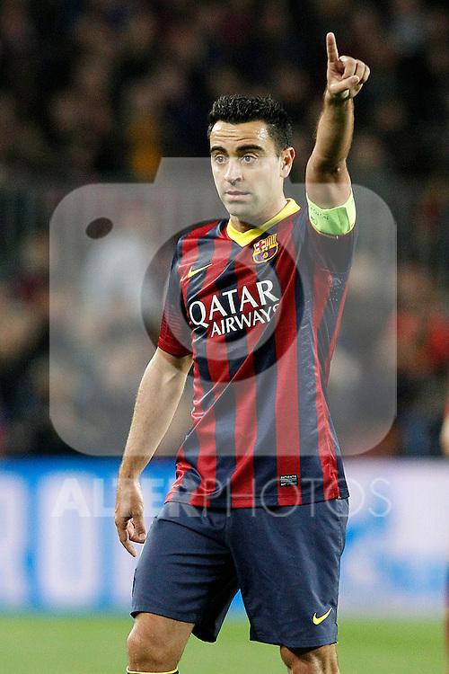 FC Barcelona's Xavi Hernandez during Champions League 2013/2014 match.April 1,2014. (ALTERPHOTOS/Acero)