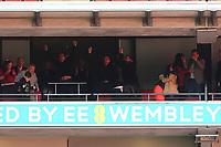 Gary Neville and Phil Neville leap into the air to celebrate Salford City's third goal during AFC Fylde vs Salford City, Vanarama National League Football Promotion Final at Wembley Stadium on 11th May 2019