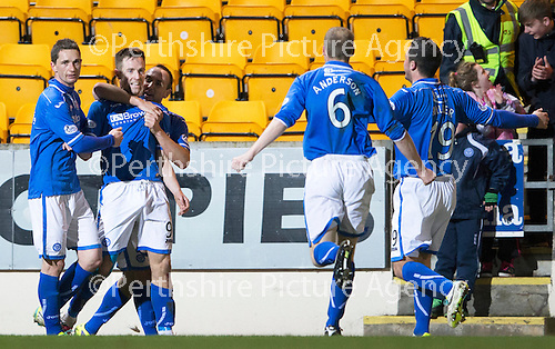 St Johnstone v Motherwell....25.02.14    SPFL<br /> Steven MacLean celebrates his second goal with Gary McDonald and Lee Croft<br /> Picture by Graeme Hart.<br /> Copyright Perthshire Picture Agency<br /> Tel: 01738 623350  Mobile: 07990 594431