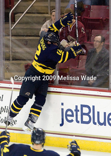 Brandon Brodhag (Merrimack - 12) celebrates his goal. - The Boston College Eagles defeated the Merrimack College Warriors 4-3 on Friday, October 30, 2009, at Conte Forum in Chestnut Hill, Massachusetts.