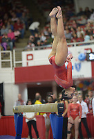 NWA Democrat-Gazette/ANDY SHUPE<br />Arkansas' Sophia Carter competes Friday, Jan. 12, 2018, in the beam portion of the 11th-ranked Razorbacks' meet with sixth-ranked Kentucky in Barnhill Arena in Fayetteville. Visit nwadg.com/photos to see more photographs from the meet.