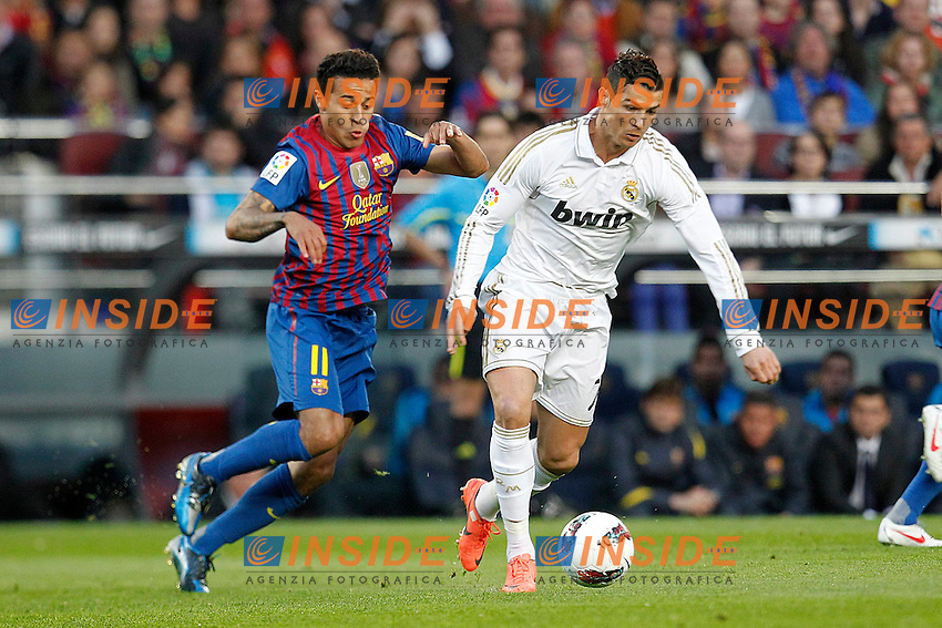 Barcelona's Thiago Alcantara and Real Madrid's Cristiano Ronaldo.Barcellona 21/4/2012 Nou Camp.Football Calcio 2011/2012 La Liga.Barcelona Vs Real Madrid 1-2.Foto Insidefoto / Cesar Cebolla / Alfaqui.ITALY ONLY