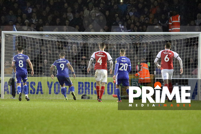 Alex Cairns of Fleetwood Town saves an 87th minute penalty from Jonson Clarke-Harris of Bristol Rovers during the Sky Bet League 1 match between Bristol Rovers and Fleetwood Town at the Memorial Stadium, Bristol, England on 25 January 2020. Photo by Dave Peters / PRiME Media Images.