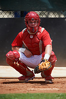 GCL Phillies East catcher Mitchell Edwards (19) warms up a pitcher in the bullpen during a game against the GCL Blue Jays on August 10, 2018 at Carpenter Complex in Clearwater, Florida.  GCL Blue Jays defeated GCL Phillies East 8-3.  (Mike Janes/Four Seam Images)