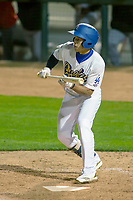 Rancho Cucamonga Quakes Jeren Kendall (3) squares to bunt against the Inland Empire 66ers at LoanMart Field on April 12, 2018 in Rancho Cucamonga, California. The 66ers defeated the Quakes 5-4.  (Donn Parris/Four Seam Images)