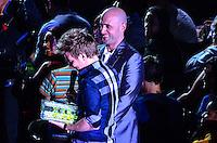 ATENCAO EDITOR: FOTO EMBARGADA PARA VEICULOS INTERNACIONAIS. - RIO DE JANEIRO, RJ,19 DE SETEMBRO 2012 - PREMIO MULTISHOW 2012- Michel Telo recebe premio na cerimonia de entrega do Premio Multishow  na noite desta terca dia 18 de setembro, no HSBC Arena, na Barra da Tijuca, zona oestedo Rio de Janeiro.(FOTO: MARCELO FONSECA / BRAZIL PHOTO PRESS).