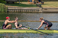 """Henley on Thames, United Kingdom, 3rd July 2018, Sunday,  """"Henley Royal Regatta"""",  Thames Challenge Cup, Thames RC crew celebrate after winning. View, Henley Reach, River Thames, Thames Valley, England, UK."""