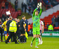 Leeds United's Bailey Peacock-Farrell applauds the fans after the match<br /> <br /> Photographer Alex Dodd/CameraSport<br /> <br /> The EFL Sky Bet Championship - Sheffield United v Leeds United - Saturday 1st December 2018 - Bramall Lane - Sheffield<br /> <br /> World Copyright &copy; 2018 CameraSport. All rights reserved. 43 Linden Ave. Countesthorpe. Leicester. England. LE8 5PG - Tel: +44 (0) 116 277 4147 - admin@camerasport.com - www.camerasport.com