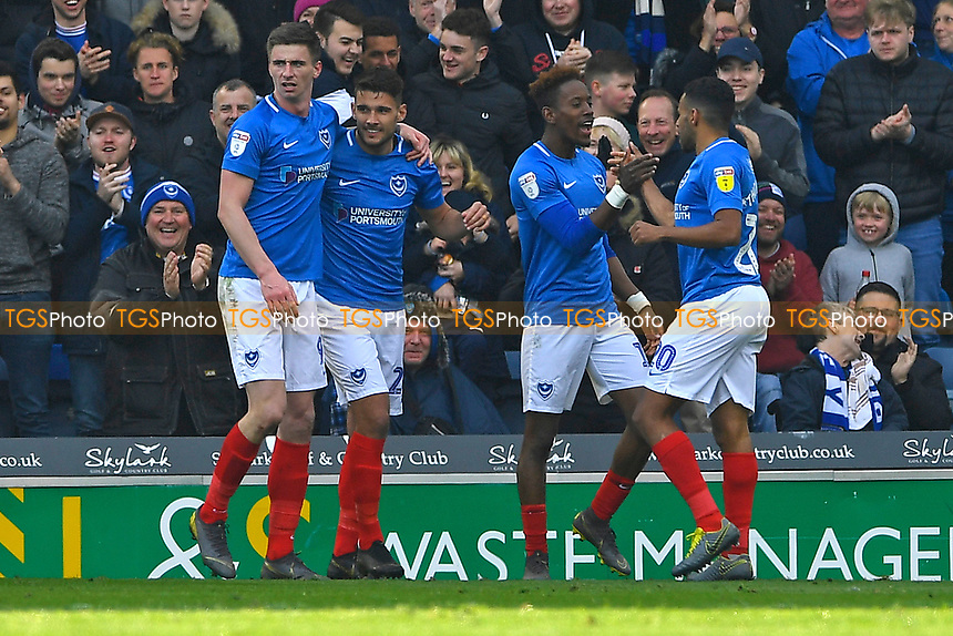 Gareth Evans of Portsmouth second left celebrates scoring the third goal during Portsmouth vs Rochdale, Sky Bet EFL League 1 Football at Fratton Park on 13th April 2019