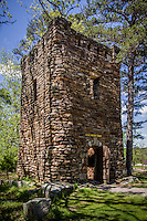 The rock Water Tower at Petit Jean State Park was built by the CCC in the 1930's. This unique rock structure held a water tank in it's upper level and supplied the lodge and cabins with drinking water.