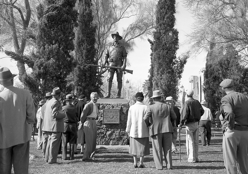 1959 January 23rd unveiling or this Spanish American War veteren on the 61st anniversary of the sinking of the Maine in Tucson's Armory Park.
