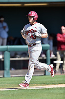 South Carolina Gamecocks third baseman Jonah Bride (20) rounds the bases after hitting a home run during a game against the Tennessee Volunteers at Lindsey Nelson Stadium on March 18, 2017 in Knoxville, Tennessee. The Gamecocks defeated Volunteers 6-5. (Tony Farlow/Four Seam Images)