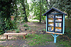 'Little Library' community book swap initiative in Old Library Woods, Thorpe Hamlet, Norwich UK.