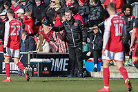 John Sheridan (Manager) of Fleetwood Town (centre) during the Sky Bet League 1 match between Fleetwood Town and MK Dons at Highbury Stadium, Fleetwood, England on 24 February 2018. Photo by David Horn / PRiME Media Images