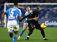 6th January 2020; Stadio San Paolo, Naples, Campania, Italy; Serie A Football, Napoli versus Inter Milan; Romelu Lukaku of Inter holds off Giovanni Di Lorenzo of Napoli