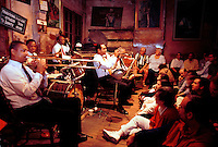 A Jazz band performs for an audience at the Jazz Preservation Hall. New Orleans, Louisiana.