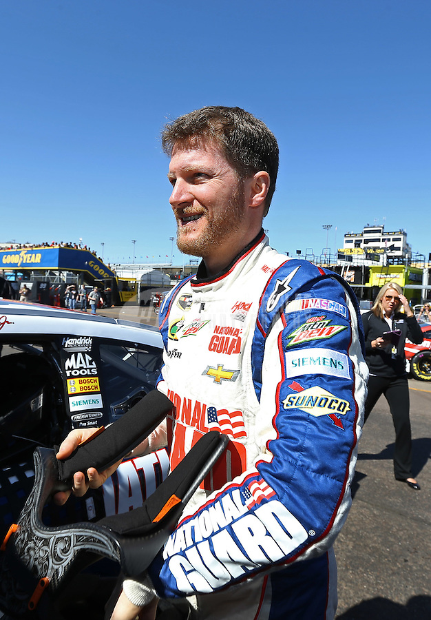 Mar. 1, 2013; Avondale, AZ, USA; NASCAR Sprint Cup Series driver Dale Earnhardt Jr during practice for the Subway Fresh Fit 500 at Phoenix International Raceway. Mandatory Credit: Mark J. Rebilas-