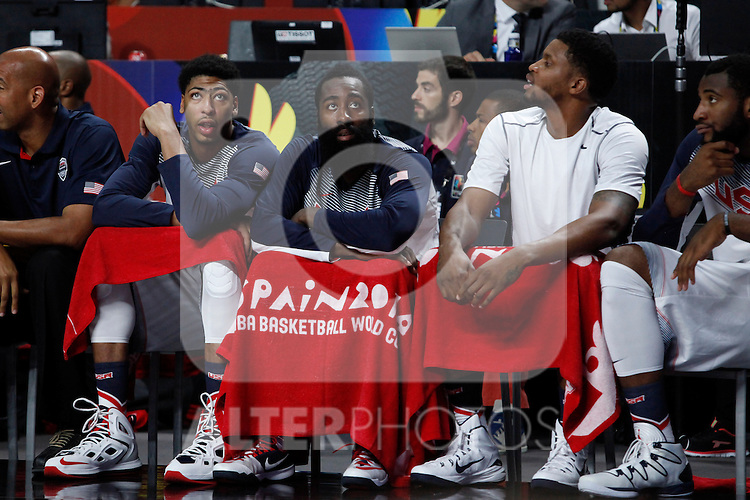 United States´s Harden and Davis during FIBA Basketball World Cup Spain 2014 final match between United States and Serbia at `Palacio de los deportes´ stadium in Madrid, Spain. September 14, 2014. (ALTERPHOTOSVictor Blanco)