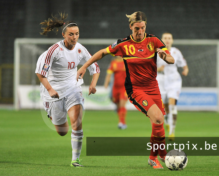 20130921 - BRUSSELS , BELGIUM : Belgian Aline Zeler (right) pictured with Albanian Velaj Aurora (left) during the female soccer match between Belgium and Albania , on the first matchday in group 5 of the UEFA qualifying round to the FIFA Women World Cup in Canada 2015 at the Koning Boudewijn Stadion , Brussels . Saturday 21th September 2013. PHOTO DAVID CATRY