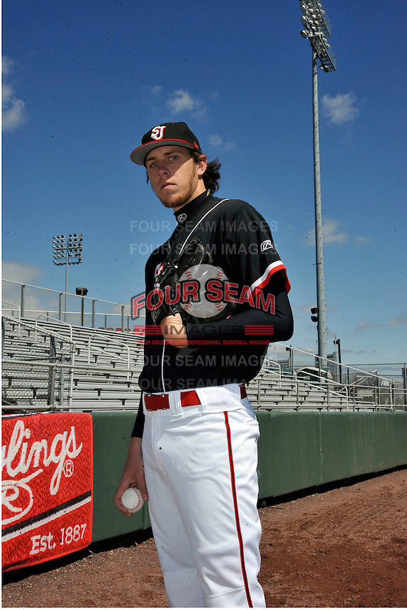 St.John's Red Storm pitcher Kyle Hansen (39) before a game against Louisville Cardinals at Jack Kaiser Stadium in Queens, New York;  April 17, 2011.  St. John's defeated Louisville 7-2.  Photo By Tomasso DeRosa/Four Seam Images
