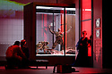 """EMBARGOED UNTIL 23:00 FRIDAY 18 OCTOBER 2019: London, UK. 16.10.2019.  English National Opera presents """"The Mask of Orpheus"""", by Sir Harrison Birthwhistle, libretto by Peter Zinovieff, at the London Coliseum, in its first London restaging in the 30 years since its premiere, coinciding with the celebration of Sir Harrison's 85th birthday. Directed by Daniel Kramer, with lighting design by Peter Mumford, set design by Lizzie Clachan and costume design by Daniel Lismore. Picture shows: James Cleverton (Aristaus the Man), Claire Barnett-Jones (Eurydice the Myth), the coompany, Marta Fontanals-Simmons (Eurydice the Woman). Photograph © Jane Hobson."""