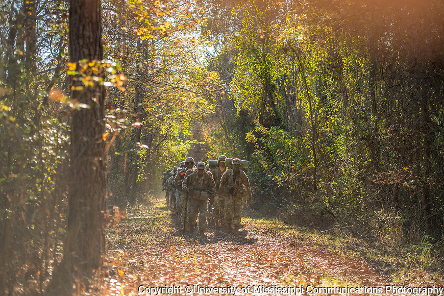 Army ROTC ruck march down the South Campus trails. Photo by Kevin Bain/University Communications Photography