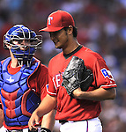 (R-L) Yu Darvish, Chris Gimenez (Rangers),<br /> JUNE 6, 2014 - MLB :<br /> Pitcher Yu Darvish of the Texas Rangers talks with catcher Chris Gimenez during the Major League Baseball game against the Cleveland Indians at Globe Life Park in Arlington in Arlington, Texas, United States. (Photo by AFLO)