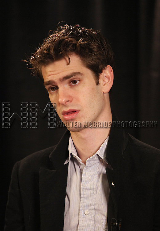 Andrew Garfield.Behind the Scene at the 2012 Tony Award-Meet The Nominees Press Reception at Millennium Broadway Hotel on May 2, 2012 in New York City.
