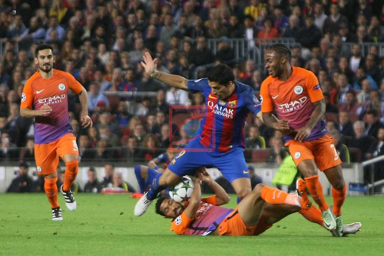 UEFA Champions League 2016/2017 - Matchday 3.<br /> FC Barcelona vs Manchester City FC: 4-0.<br /> Nicolas Otamendi vs Luis Suarez.