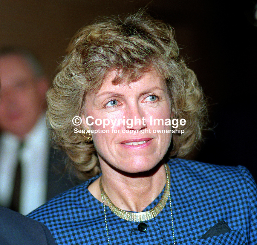 Sigrid Needham, wife, Richard Needham, MP, politician, Conservative Party, UK, 19901057SN..Copyright Image from Victor Patterson, 54 Dorchester Park, Belfast, UK, BT9 6RJ..Tel: +44 28 9066 1296.Mob: +44 7802 353836.Voicemail +44 20 8816 7153.Skype: victorpattersonbelfast.Email: victorpatterson@me.com.Email: victorpatterson@ireland.com (back-up)..IMPORTANT: If you wish to use this image or any other of my images please go to www.victorpatterson.com and click on the Terms & Conditions. Then contact me by email or phone with the reference number(s) of the image(s) concerned.