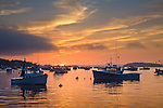 Fishing boats at sunrise in Stonington Harbor, Stonington, ME, USA