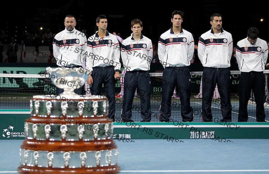 Tennis Tenis<br /> Davis Cup Final 2013<br /> Serbia v Czech Republic<br /> Award ceremony<br /> from left Bogdan Obradovic Novak Djokovic Dusan Lajovic Ilija Bozoljac Nenad Zimonjic and Janko Tipsarevic<br /> Beograd, 17.11.2013.<br /> foto: Srdjan Stevanovic/Starsportphoto &copy;