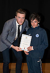 St Johnstone FC Academy Awards Night...06.04.15  Perth Concert Hall<br /> Zander Clark presents a certificate to Oliver Hamilton<br /> Picture by Graeme Hart.<br /> Copyright Perthshire Picture Agency<br /> Tel: 01738 623350  Mobile: 07990 594431