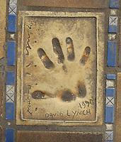 Hand print of the film director, David Lynch, outside the Palais des Festivals et des Congres, Cannes, France.