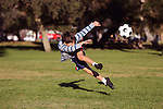 Boy in park kicking a soccer ball in mid air - authentic action, copy space