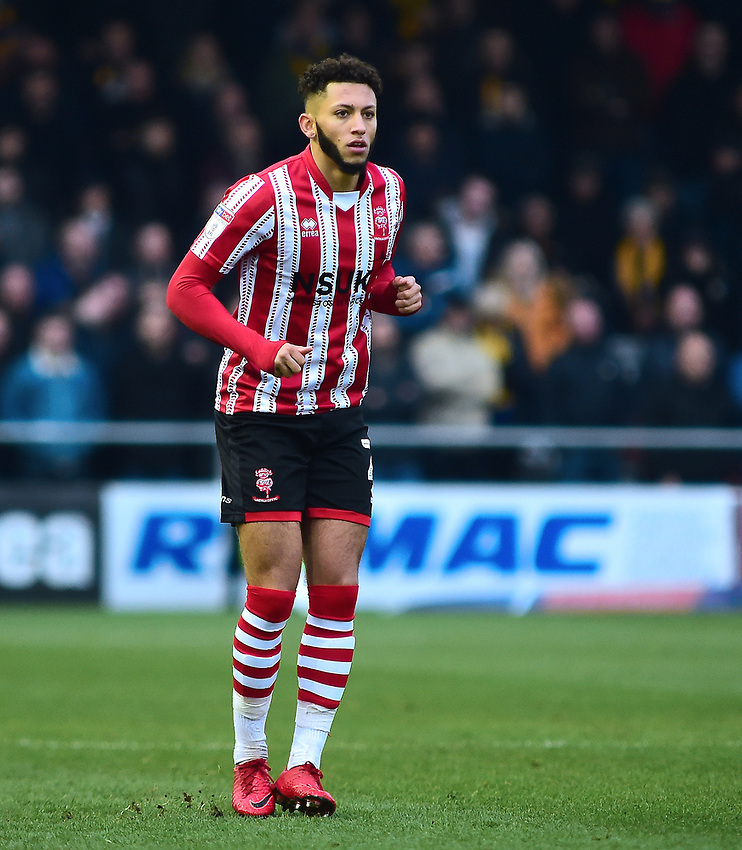 Lincoln City's Kellan Gordon<br /> <br /> Photographer Andrew Vaughan/CameraSport<br /> <br /> The EFL Sky Bet League Two - Lincoln City v Mansfield Town - Saturday 24th November 2018 - Sincil Bank - Lincoln<br /> <br /> World Copyright © 2018 CameraSport. All rights reserved. 43 Linden Ave. Countesthorpe. Leicester. England. LE8 5PG - Tel: +44 (0) 116 277 4147 - admin@camerasport.com - www.camerasport.com