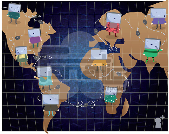 Illustrative representation of global networking